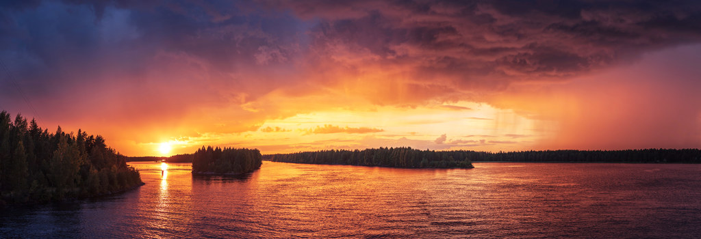 Wide finland lakesunset